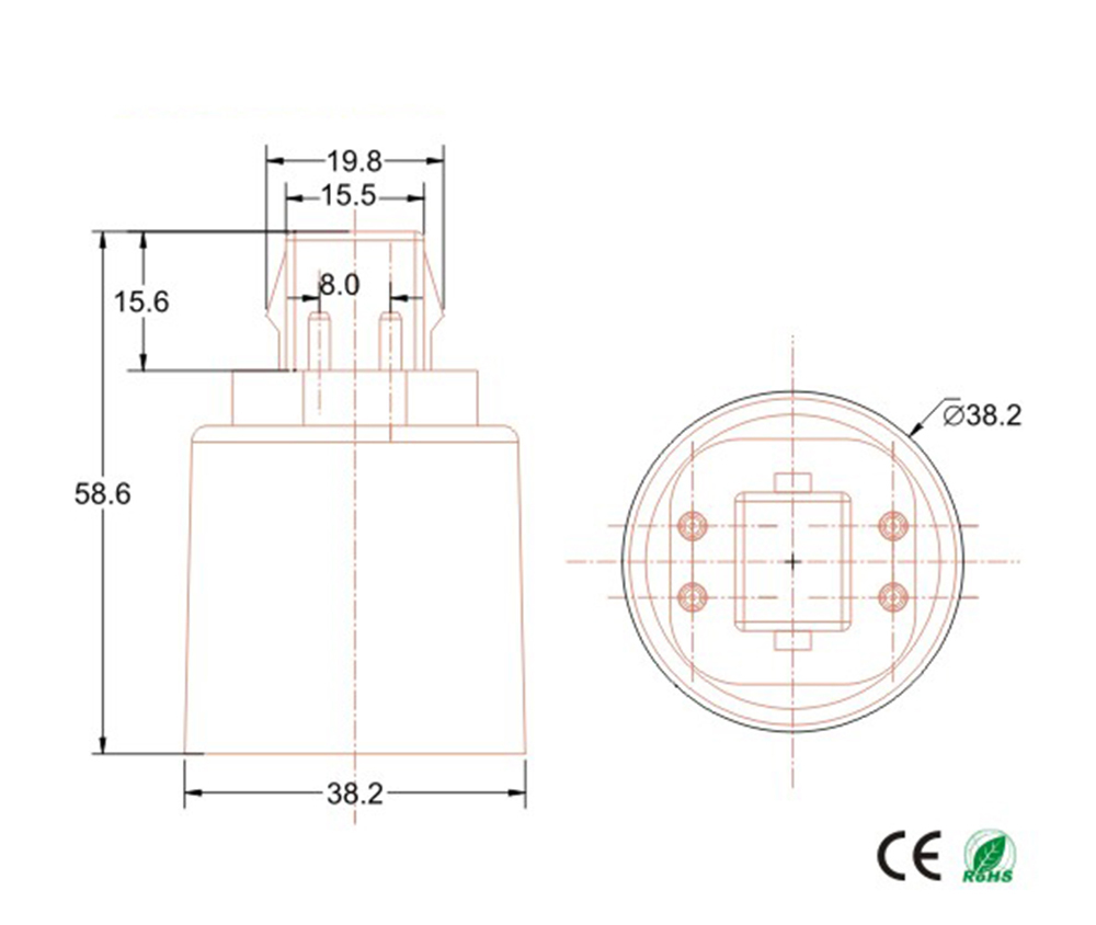 medium resolution of g24q to e26 e27 adapter lamp base converter 4pin cfl gx24q to e27 e26 adapter lamp holder converter need bypass ballast in lamp holder converters from