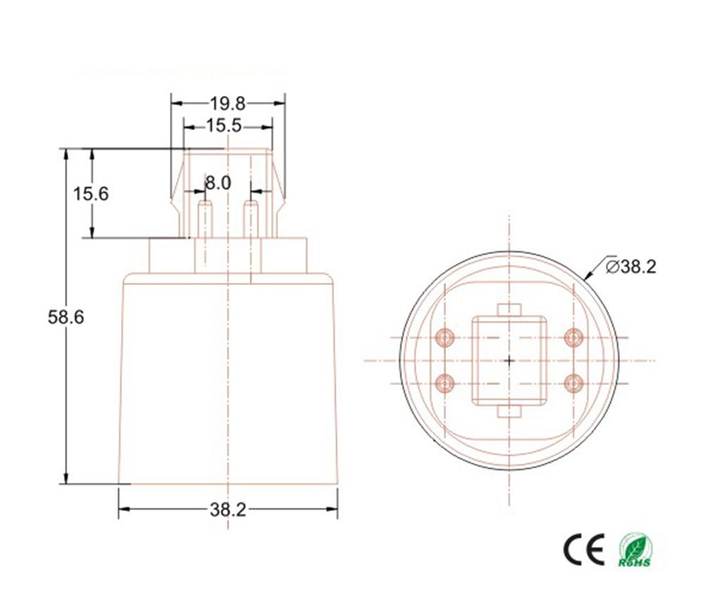 g24q to e26 e27 adapter lamp base converter 4pin cfl gx24q to e27 e26 adapter lamp holder converter need bypass ballast in lamp holder converters from  [ 1000 x 844 Pixel ]