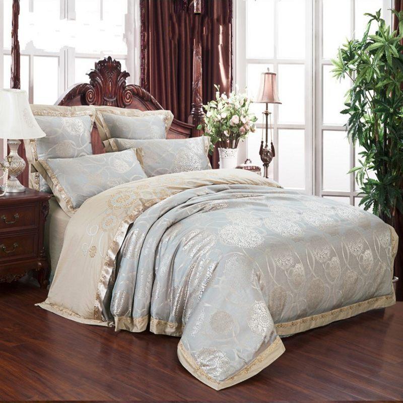 juego de cama textiles para el hogar unids satn de seda jacquard ropa de cama