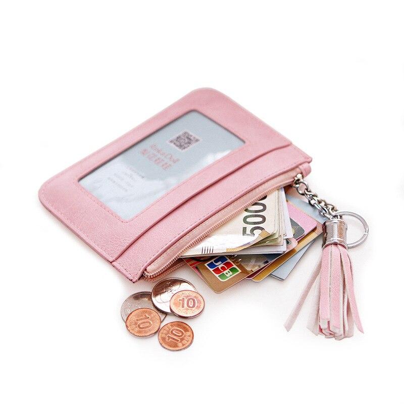 2016 free shipping  fashion new women coin purse PU Square fresh solid color zip thin tassel women mini wallet