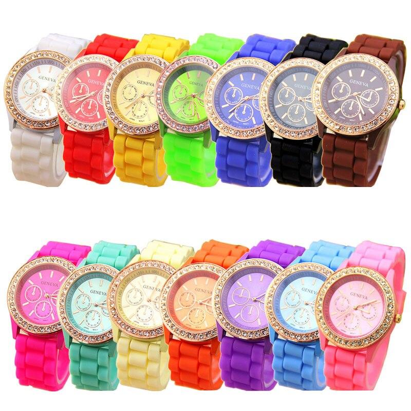 2018 new popular wonderful practical amazing hot modern Analog Quartz Wrist Watch Jelly Golden Crystal Silicone Watch P*21 цена и фото