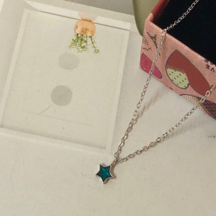 Plata de Ley Collar corto Cadena de clavícula bien la Sección azul fresco de cristal mini lindo estrella de cinco puntas MLSF01
