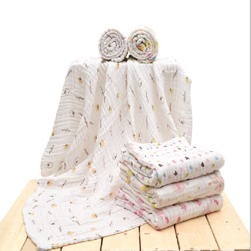 Newborn Baby Bath Towel 100% Cotton 6 layers Gauze Cartoon Kids Bathing Childrens Baby Bathrobe Toddler Baby Boy Girl Blankets