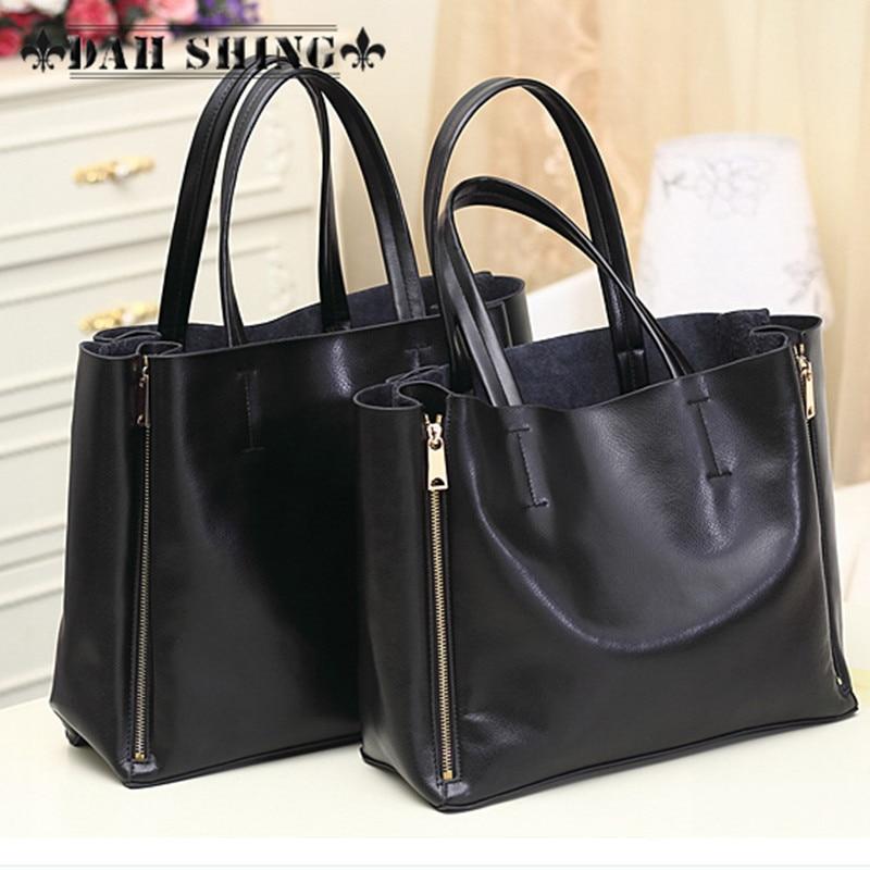 2017 modë Qese e zezë lëkure e zezë lëkure çanta për gratë - Çanta dore - Foto 1