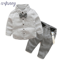 Boys Spring Summer Striped Bow Tie Shirt Set kids baby boy suit gentleman clothesT shirt +pants+Bow for weddings formal clothin striped drop shoulder formal shirt