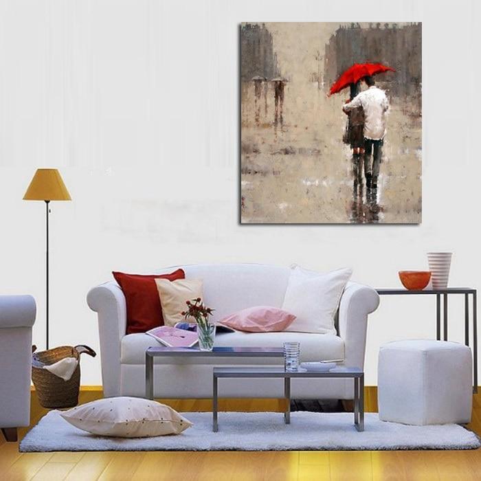 Peinture à l'huile sur toile à la main wall art moderne pluie paysage image deux personnes à pied sous le parapluie rouge