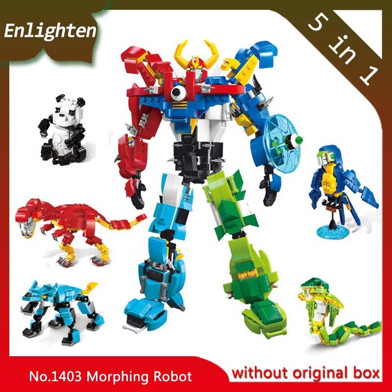 Enlighten 5 in 1 Morphing Robot 1403 Schepper Van God War Figuur Blokken Building Blocks Kids Toys Gift Compatible Legoings