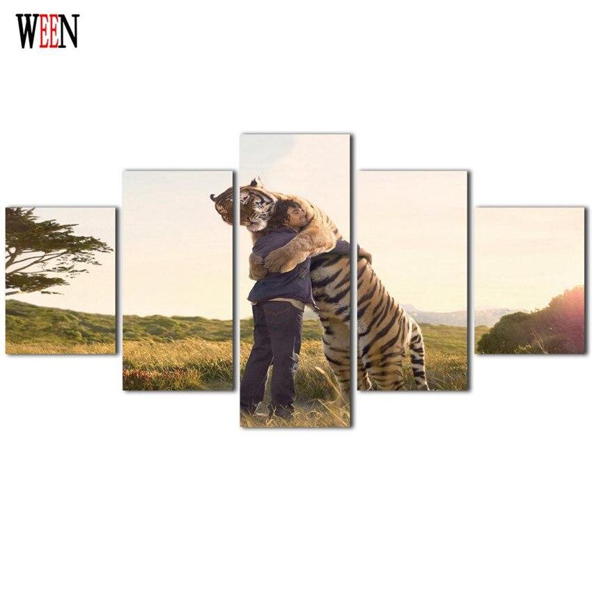Gerahmte 5 Stücke Mann Umarmung Mit Tiger Leinwand drucke Wall Bild ...