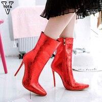 VTOTA модные теплые зимние сапоги женские ботинки до середины икры Зимние сапоги с острым носком тонкий высокий каблук зимние сапоги Botas Женск