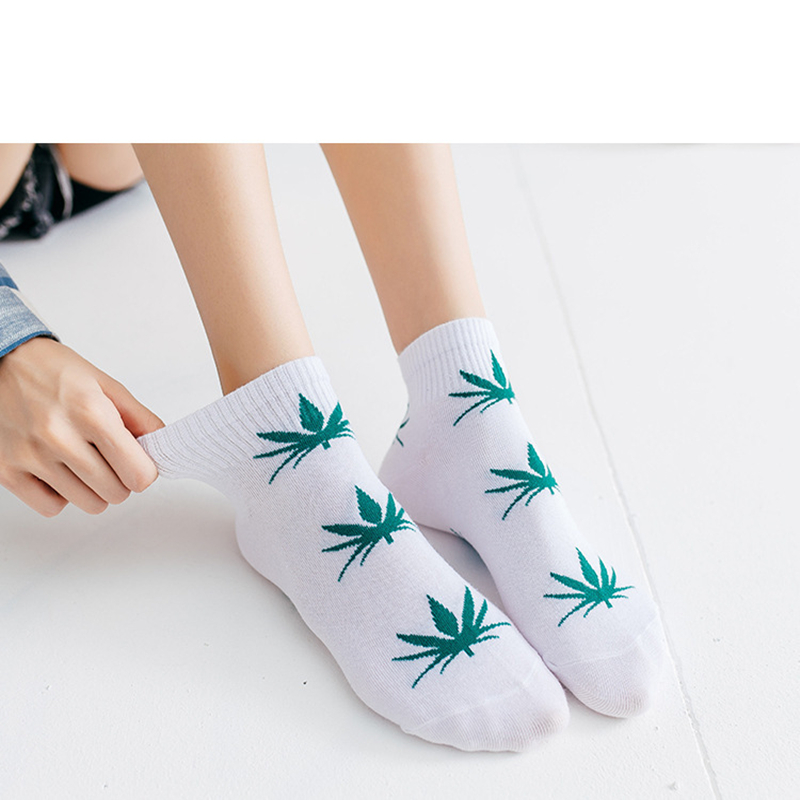 1 Pair Men's Fashion Business Ankle Socks Unisex Weed Hemp Cotton Socks Street Fashion Skateboard Couple Harajuku Trend Socks