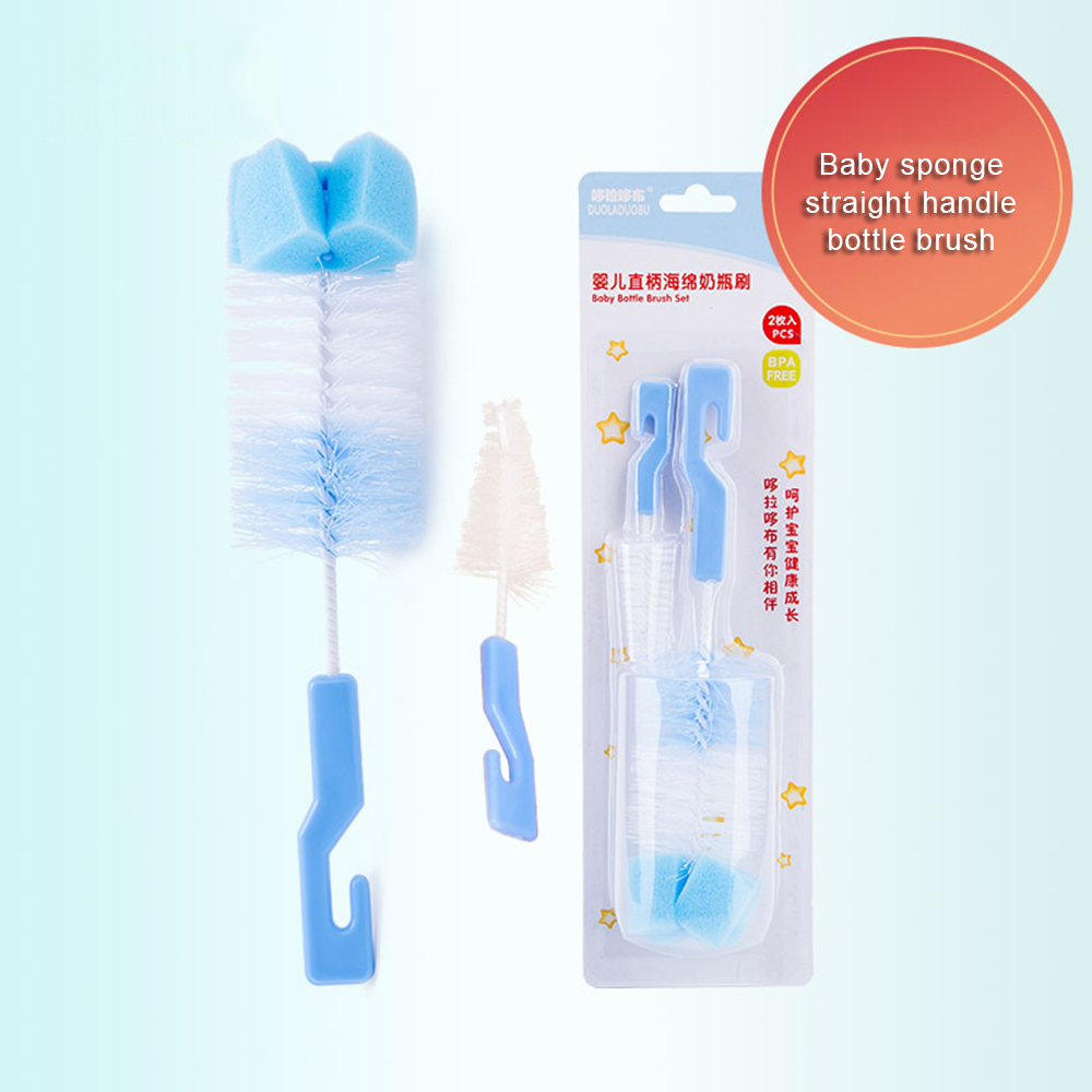 2pc/set Baby Bottle Brush Nipple Brush 360-degree Rotating Head Cleaning Sponge Cup Brush Kit  Milk Feeding Bottle Brush Cleaner