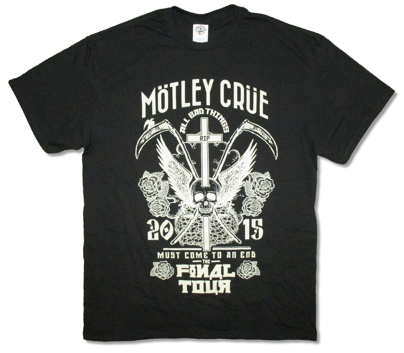 Motley Crue R.I.P. All Bad Things Tour 2015 Black T Shirt New Official Merch