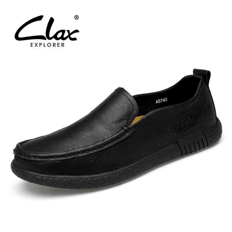 CLAX Mens Loafers Genuine Leather 2018 Summer Leather Shoe Man Slip ons Casual Boat Shoe Hollow Out Breathable Walking Footwear clax men boat shoes genuine leather 2018 spring summer casual loafers man breathable flat moccasin retro leather shoe slip ons