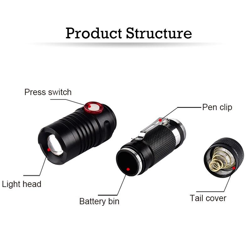 CREE xm-l T6 светодиодный фонарик USB Перезаряжаемые вспышки света 18650 Батарея Велоспорт Клип факел Водонепроницаемый лампы + кабель USB + батарея