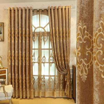 Custom curtains High grade European livingroom gold cotton embroidered bedroom blackout curtain tulle  drape M699