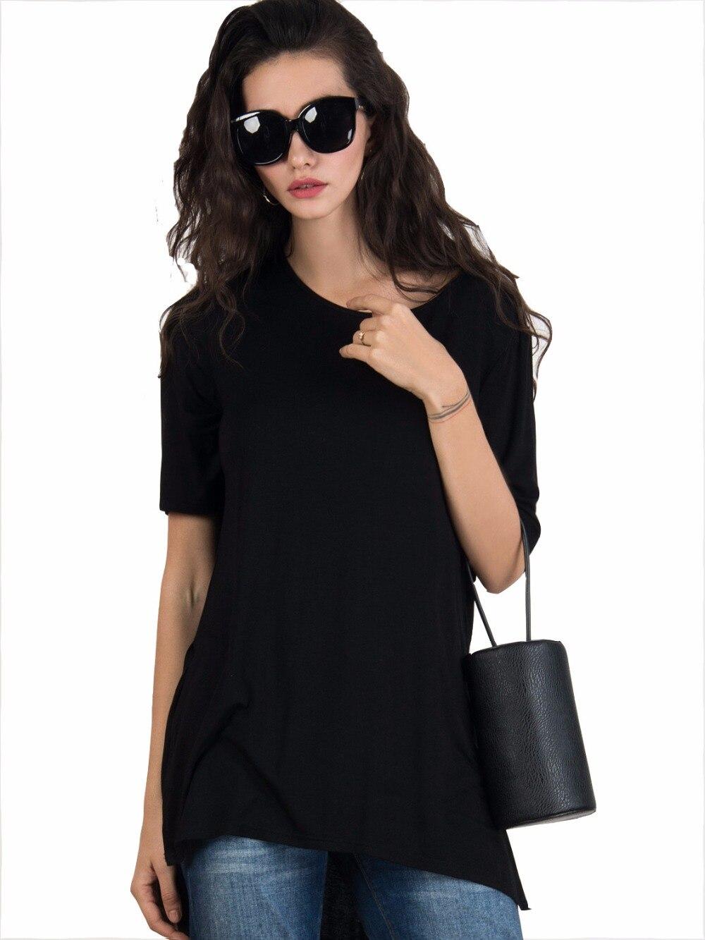 Plain black t shirt style - Longline T Shirts Women S Black Plain