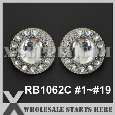 Color Option RB1062C 1 19 Free Shipping Single Color Acrylic Rhinestone Button Plastic Rhinestone Button