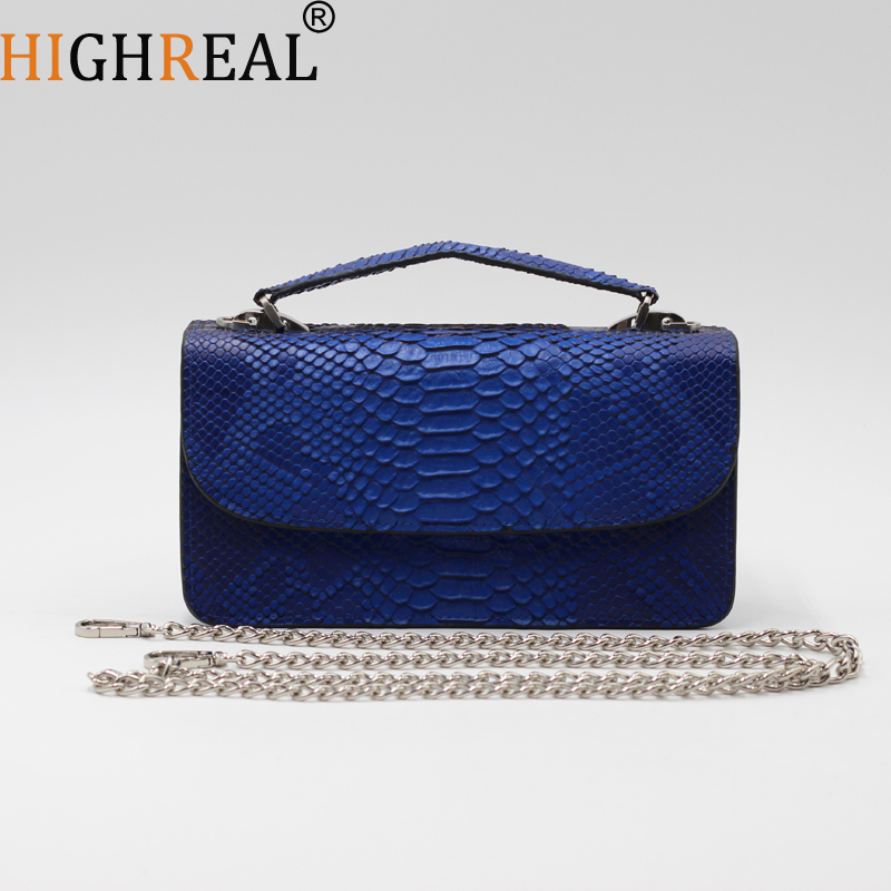Clutch Fashion Bag Genuine Leather Women Shoulder Bag Flap Evening Clutch Snake Skin Crossbody Hand Bags Female