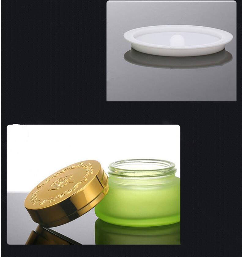 Skin Toner Suit Empty Bottle Silver Gold Carved lid Green Emulsion Bottle Glass Cream Lotion Pump 30ml 50ml 120ml 30g 50g (14)