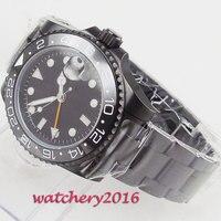 Классические мужские часы GMT  черные стерильные часы с циферблатом 40 мм  с керамическим циферблатом  светящимся PVD