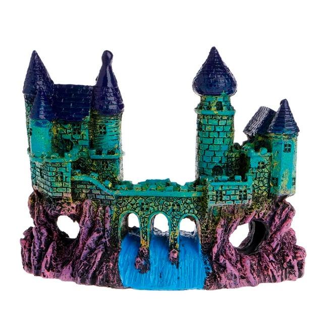 new blue resin european waterfall bridge castle decor aquarium ornament fish tank decoration c42 - Blue Castle Decor
