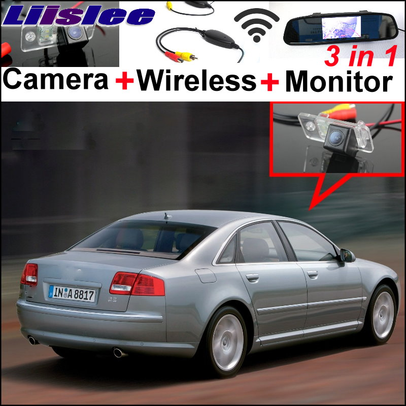 Liislee 3 in1 Special Rear View Wifi Camera Wireless Receiver + Mirror Monitor Parking System For Audi A8 A8L S8 D3 4E 2002~2007 3 in1 special rear view camera wireless receiver mirror monitor back up parking system for honda jazz 5d 2002 2013