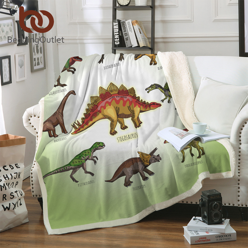 BeddingOutlet Dinosaurier Sherpa Decke Jurassic Gedruckt Bettdecke für Kinder Stegosaurus Plüsch Decke Jungen Cartoon Bettwäsche
