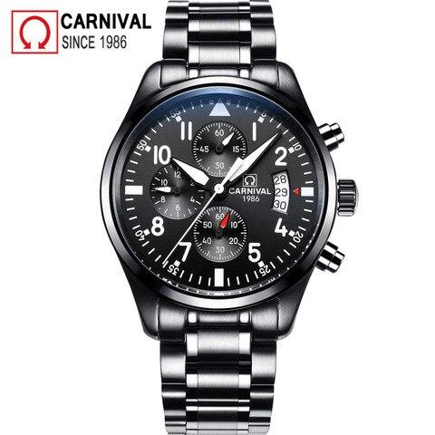 Carnival Sport Pilot Automatic Watch Men Mechanical Watches Mens Luminous Waterproof Military Clock Multifunction montre homme Lahore