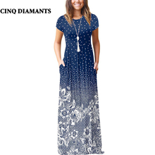 CINQ DIAMANTS Boho Dress Women Summer Long Dress Blue White Maxi Dress Robe Longue Femme Zomer Jurk robe femme ete 2018
