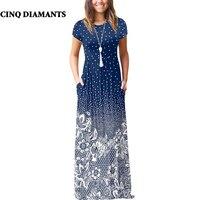 CINQ DIAMANTS Boho Dress Women Summer Long Dress Blue White Maxi Dress Robe Longue Femme Zomer Jurk robe femme ete 2018