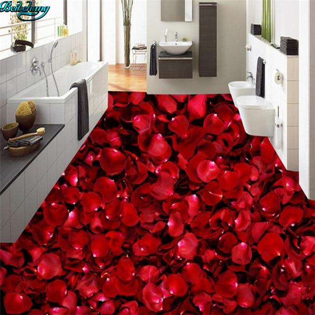 Beibehang Große Benutzerdefinierte Bodenbelag ästhetischen Romantische Rose  Blütenblatt Wohnzimmer Schlafzimmer Küche Badezimmer Bodenbeläge Dekoriert