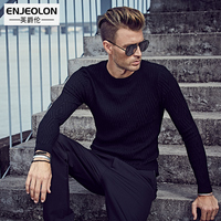 Enjeolon brand Fashion sale Knitted pullover Sweaters man,O neck black Sweater,casual style Man's Clothes plus size S 3XL M3055