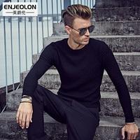 Enjeolon Autumn Men Fashion Sweaters O Collar Black Knitted Cardigan Brand Slim Clothing Man S Knitwear