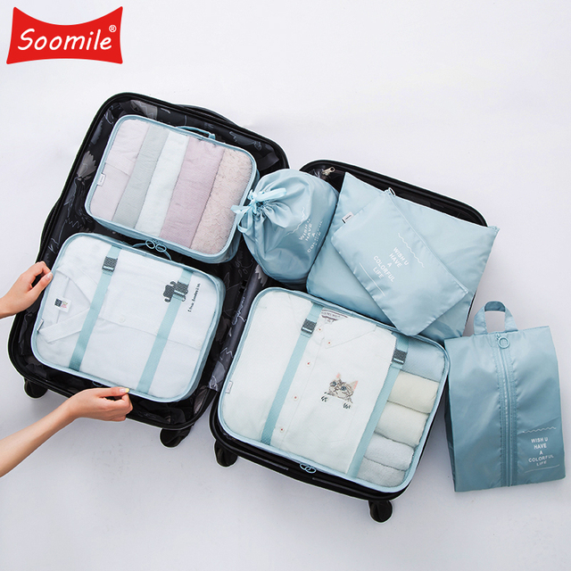 509603b70215 New High quality 7PCS set Travel Bag Set Women Men Luggage Organizer for  Clothes Shoe Waterproof Packing Cube Portable Clothing