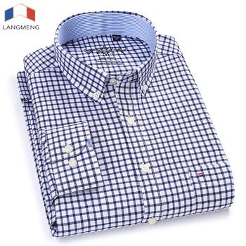 Langmeng Men Oxford Casual Shirt 2018 Long Sleeve Slim Fit Comfortable Plaid Shirt Mens High Quality Dress Shirts Brand Clothing
