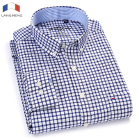 Langmeng Men Oxford Casual Shirt 2018 Long Sleeve Slim Fit Comfortable Plaid Shirt Mens High Quality