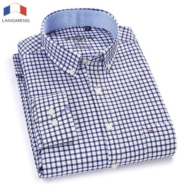 Langmeng Men Oxford Casual Shirt 2018 Long Sleeve Slim Fit