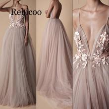 Rebicoo 2019 new sexy V-neck halter court train flower red sling sweet tulle dress