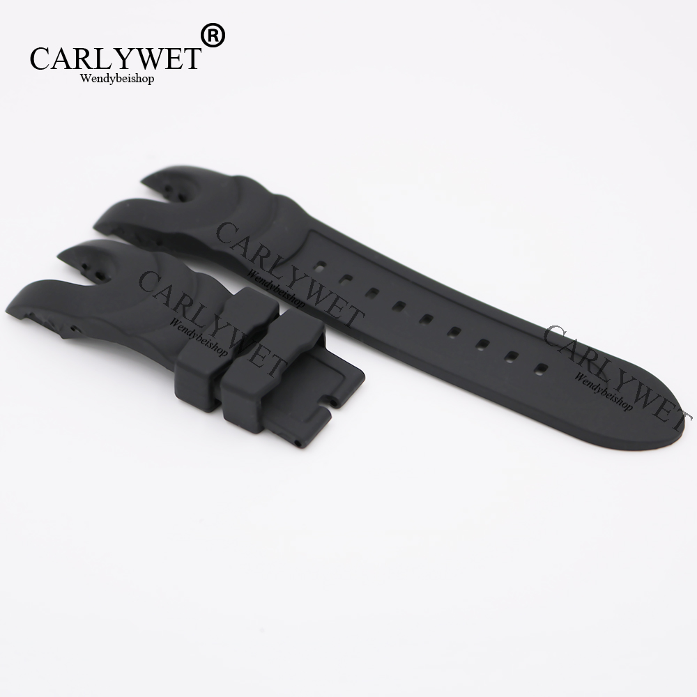 CARLYWET 26mm Black Strap Waterproof Rubber Replacement Watch Band Belt Special Popular For Invicta Reserve Collection Style