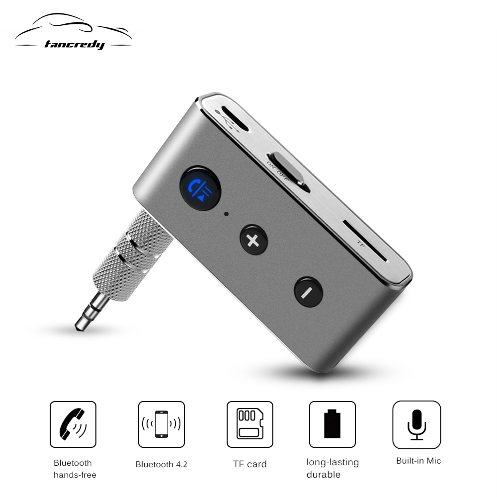 Tancredy Wireless Car Bluetooth Aux Receiver Adapter 4.2+EDR Aux Bluetooth Music Audio Receiver