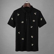 2019 חדש מעצב דבורים רקמת פולו חולצות גברים אופנה קיץ Streetwear ישר קצר שרוול כותנה Camisa Masculina פולו