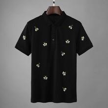2019 Yeni Tasarımcı Arılar Nakış Polo gömlekler Erkekler Moda Yaz Streetwear Düz Kısa Kollu Pamuk Camisa Masculina Polo