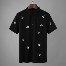 2019 جديد مصمم النحل التطريز قمصان بولو الرجال أزياء الصيف الشارع الشهير مستقيم قصيرة الأكمام القطن Camisa الغمد بولو