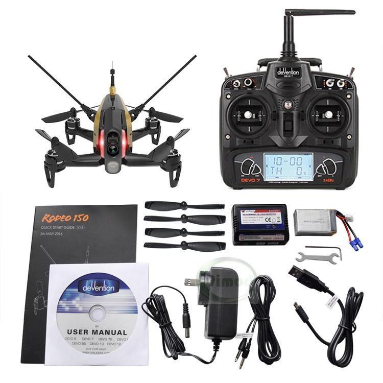Original Walkera Rodeo 150 with DEVO 7 Remote Control Racing Drone with 600TVL Camera RTF BNF walkera rodeo 150 bnf without transmitter rc racing drone with 600tvl night vision camera 150 size