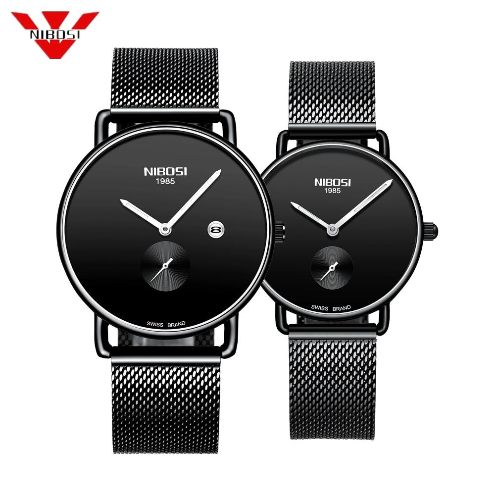 NIBOSI Brand Luxury Lover Watch Pair Waterproof Men Women Couple Watch Quartz Wristwatch Male Female Bracelet Relogio Masculino