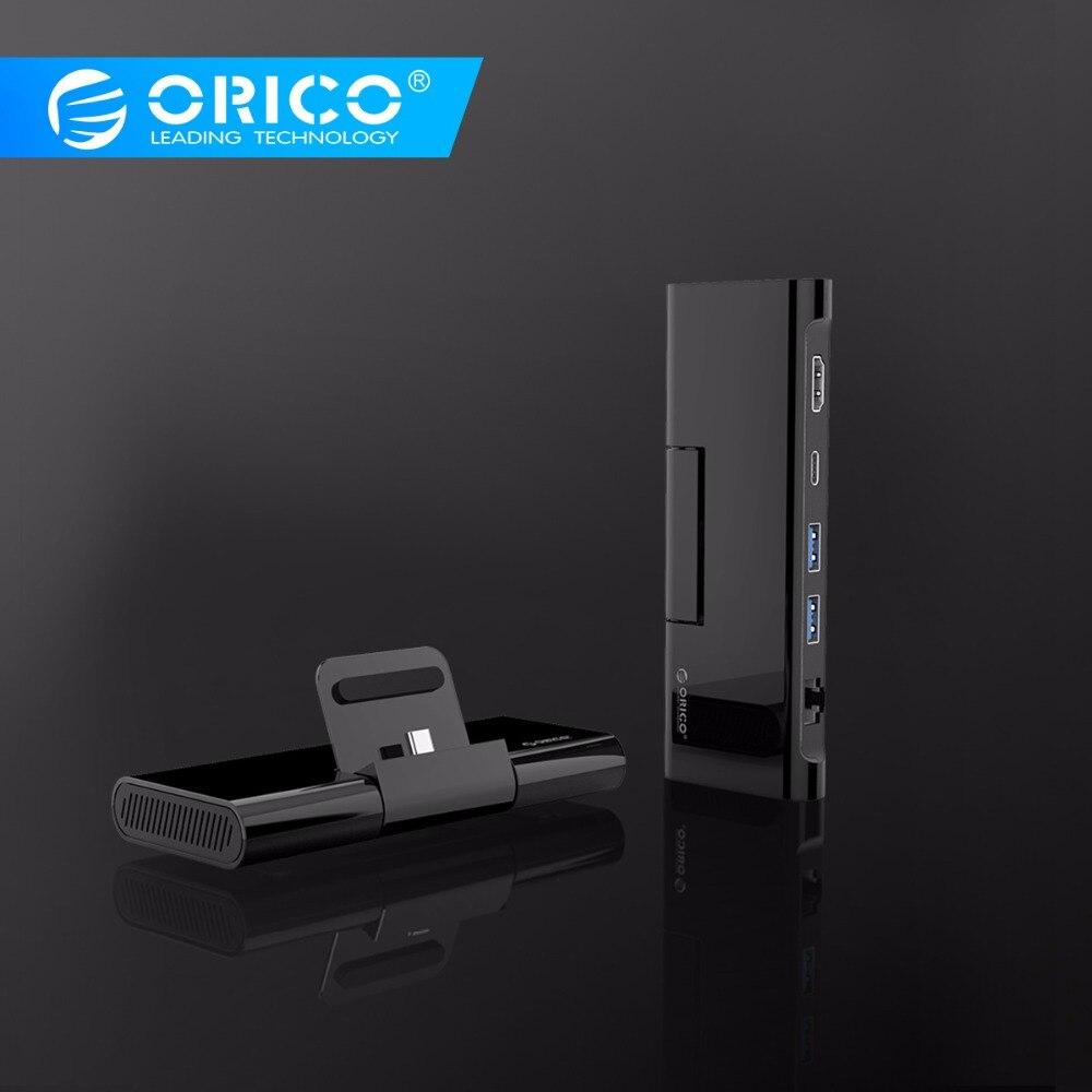 ORICO Tipo C Docking Station com Suporte Do Telefone Carregador USB para HDMI C RJ45 USB3.0 HUB para MacBook Samsung HUAWEI tipo C HUB USB