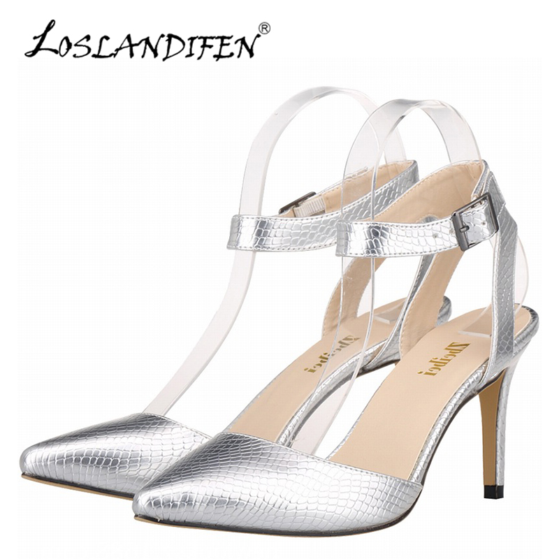 LOSLANDIFEN Summer Woman Pumps Casual Faux Crocodile Fashion Pointed Toe Women High Heels Shoes Ladies Dress Party Shoe 952-4XEY egonery buckle strap faux leather thick high heels fashion style ladies party shoes women s shoe plus size woman pumps