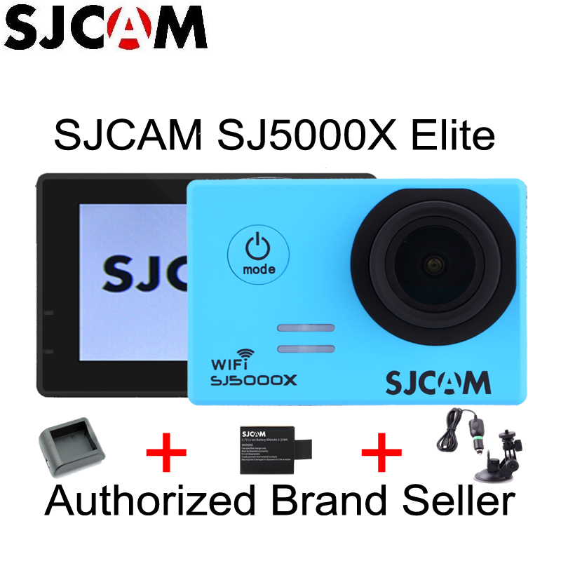 Original SJCAM SJ5000X Elite 4K Gyro Action Sports Camera Diving 30m Waterproof + Extra Battery/Charger + Car Charger + Holder