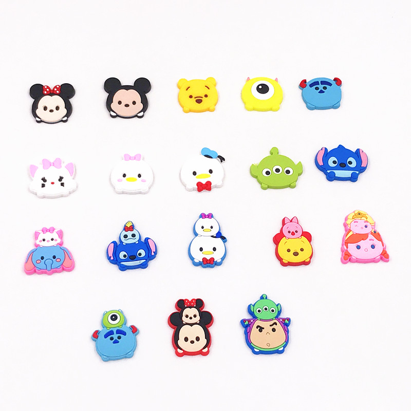 ac9a8f9b93094 US $1.49 25% OFF 18PCS TSUM TSUM Mickey Character Soft Decoration Flatback  PVC DIY Gadgets Fit Bracelets Shoe Charms hair Accessories Buttons-in ...