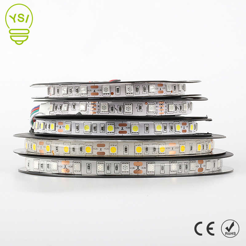 5 M LED Lampu Strip 5050 3528 DC12V 60LED/M LED Fiexble Lampu Lampu Tahan Air RGB White Warm White biru Hijau Merah Ribbon Tape